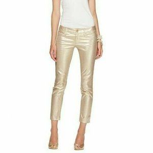 Lilly Pulitzer Worth Skinny Mini Jeans Gold Size 4